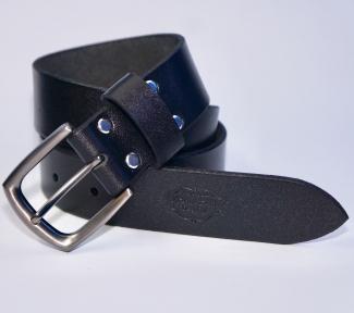 Мужской кожаный ремень KHARCHUK Chrome 12-40 Черный