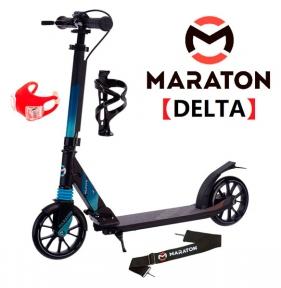 Самокат Maraton DELTA (2021) Черный + LED-фонарик, держатель.