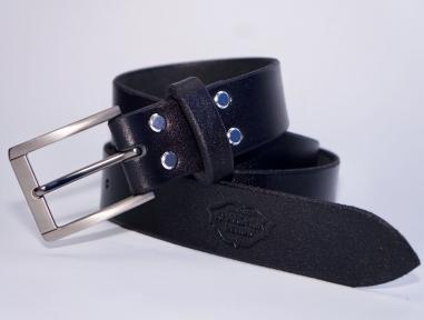 Мужской кожаный ремень KHARCHUK Chrome 8-35 Черный