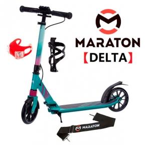 Самокат Maraton DELTA (2021) Бирюзовый + LED-фонарик, держатель