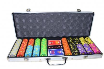 Набор для покер Compass номиналом 500 фишек, пластиковые карты в кейсе