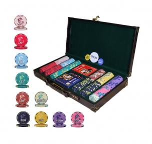 Набор для игры в покер Lucky Dragon 300 керамических фишек в кожаном кейсе
