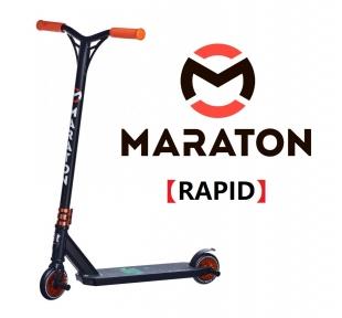 Самокат для трюков Maraton Rapid Черно-оранжевый + Пеги 2шт (2021)