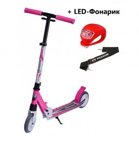 Детский самокат Maraton SPORT 145 Розовый + LED-фонарик