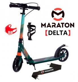Самокат Maraton DELTA (2021) Зеленый + LED-фонарик, Дердатель