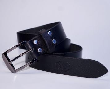 Мужской кожаный ремень KHARCHUK Chrome 7-35 Черный