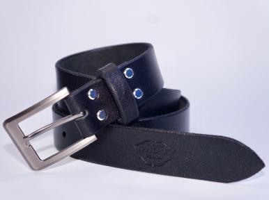 Мужской кожаный ремень KHARCHUK Chrome 9-35 Черный