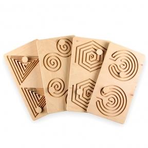 Межполушарные доски, набор 4в1 Goods4u (WB) Треугольник, Улитка, Многоугольник, Мозг
