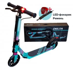 Самокат Maraton DELTA (2020) Бирюзовый + LED-фонарик
