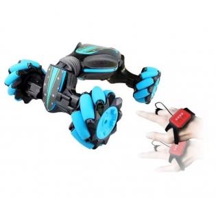 Радиоуправляемая машинка от движения руки Stunt Car + пульт, Синий