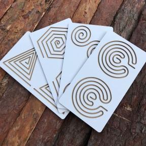 Межполушарные доски ламинированные, набор 4в1 Goods4u (WB) Треугольник, Улитка, Многоугольник, Мозг