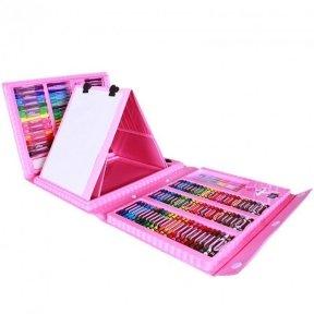 Набор для рисования Art Set с мольбертом в чемоданчике (176 предметов) Розовый