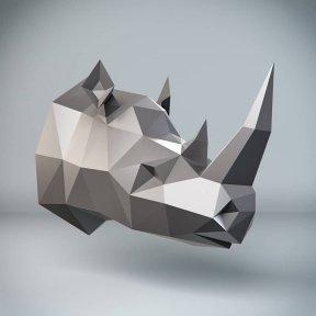 Бумажная модель 3Decor Papercraft Голова Носорога (87)