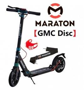 Самокат Maraton GMC Disc + LED-фонарик (2021) Черный - изумруд